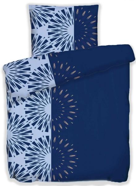 Seersucker Bettwäsche 135x200 +80x80cm, blau hellblau, abstrakte Kreise, bügelfrei