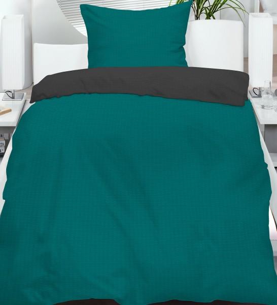 Seersucker Wende Bettwäsche 135x200 +80x80 cm, petrol grau, uni/einfarbig, bügelfrei, Microfase
