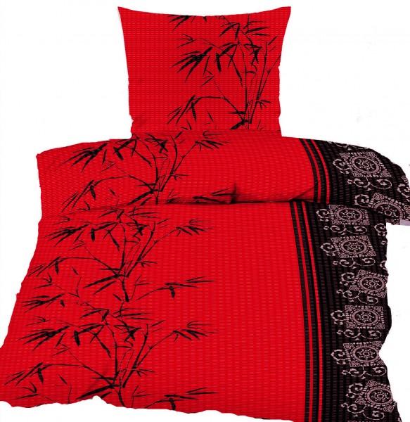 Seersucker Bettwäsche 135x200 +80x80cm, rot schwarz silber, Bambus, bügelfrei
