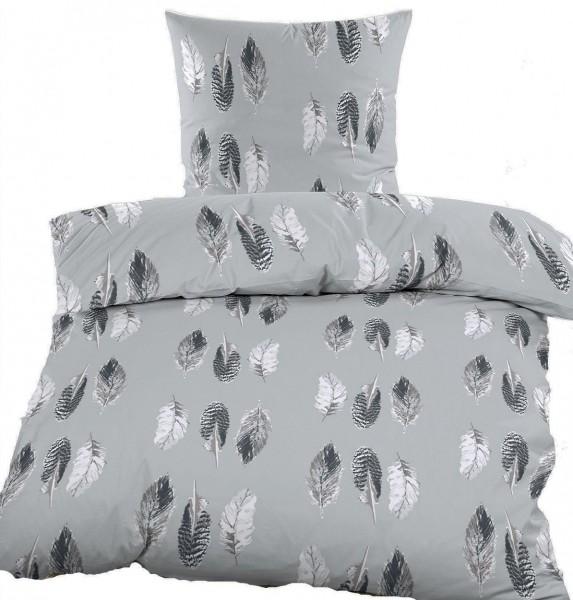 Fleece Winter Bettwäsche 135x200 + 80x80cm, grau, Federn, Microfaser